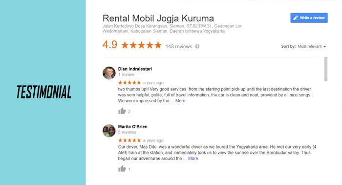 Testimonial Rental Mobil Jogja