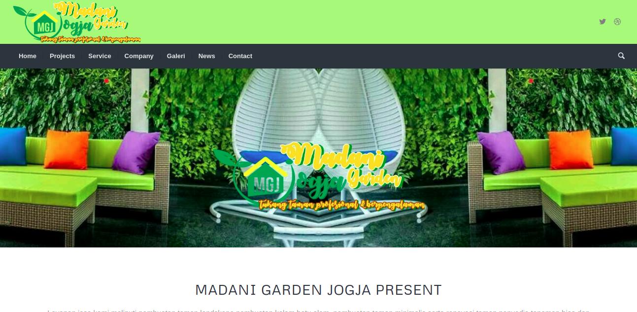 Tampak situs website dari jasa taman Madani Garden, foto: screenshots