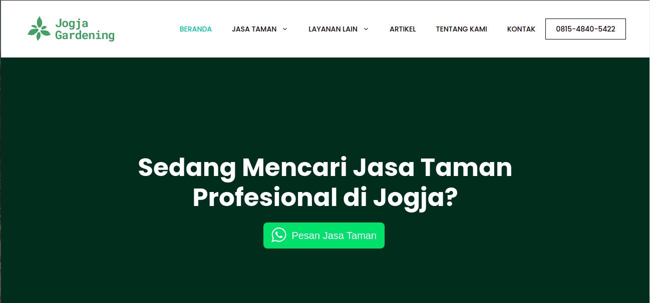 Tampak situs website dari jasa taman Jogja Gardening, foto: screenshots