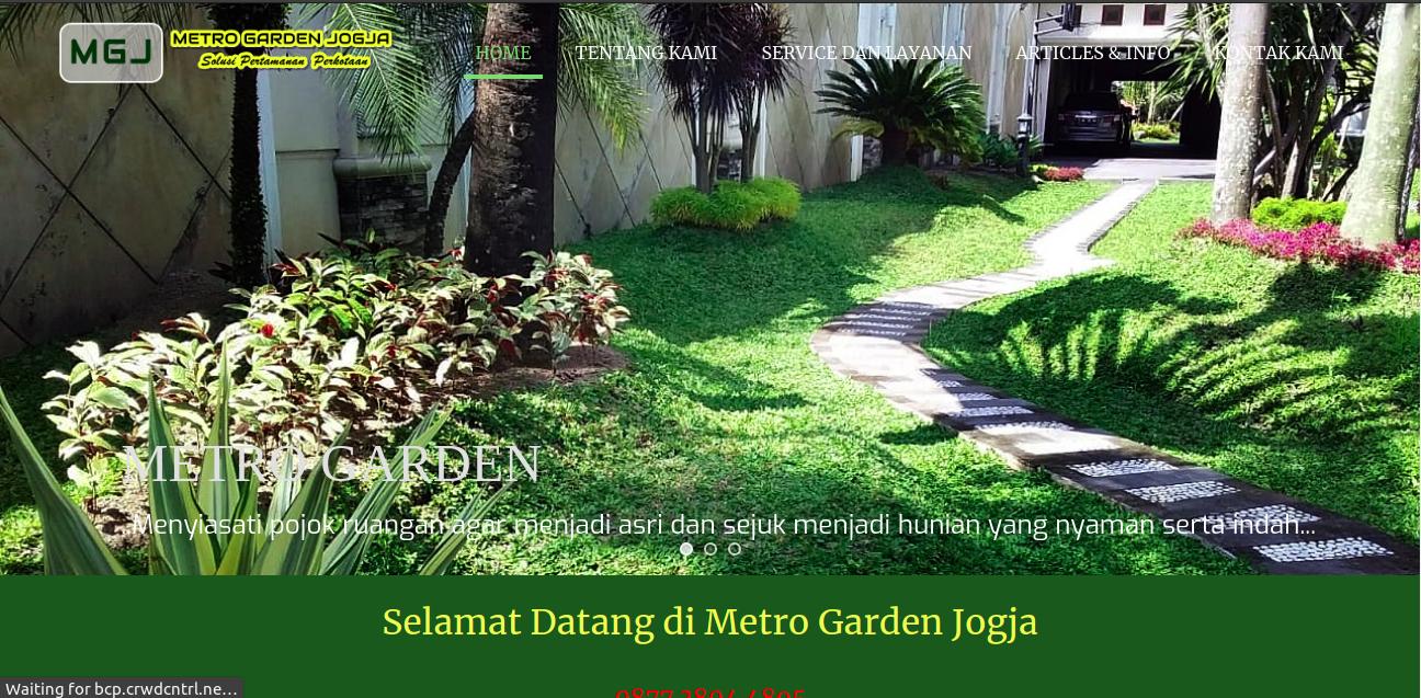 Tampak situs website dari jasa taman Metro Garden Jogja, foto: screenshots