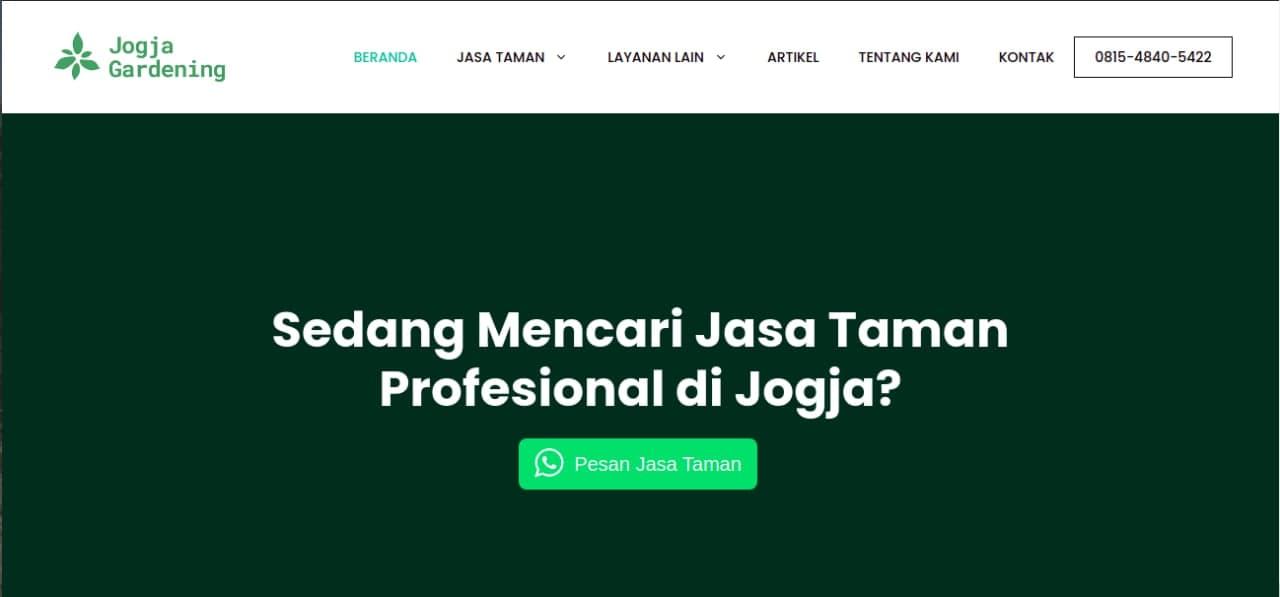 Tampak situs website dari tukang taman Jogja Gardening, foto: screenshots