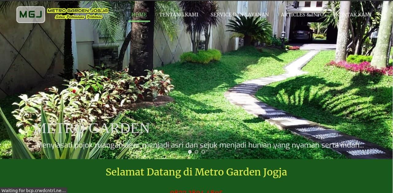 Tampak situs website dari tukang taman Metro Garden Jogja, foto: screenshots